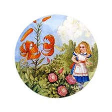 "Alice Encounters the Talking Flowers 3.5"" Button"