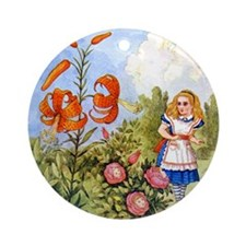 Alice Encounters the Talking Flowers Ornament (Rou