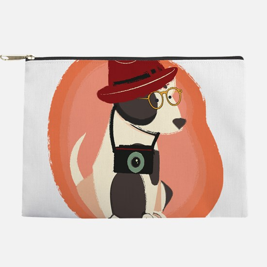 Funny cool Hipster Puppy Dog Makeup Pouch