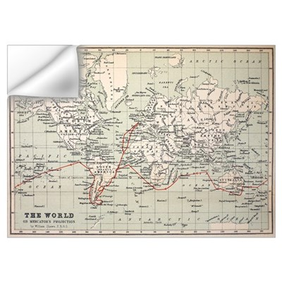 Map Darwin's Beagle Voyage South America Wall Decal