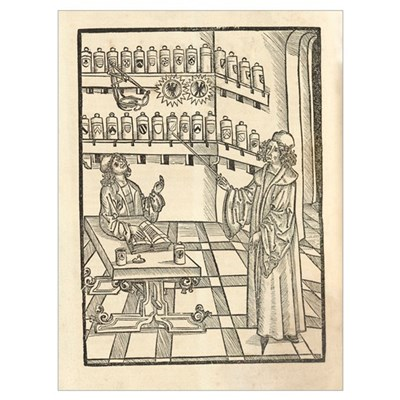 Physician and apothecary, 15th century Poster