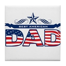 Father's Day Best American Dad Tile Coaster