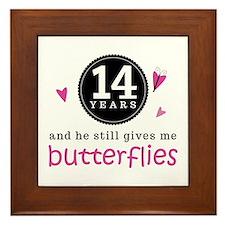 14th Anniversary Butterflies Framed Tile