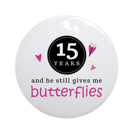 15th Anniversary Butterflies Ornament (Round)