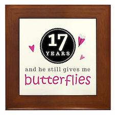 17th Anniversary Butterflies Framed Tile