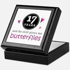 17th Anniversary Butterflies Keepsake Box