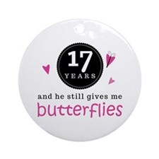 17th Anniversary Butterflies Ornament (Round)