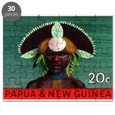 1968 Papua New Guinea Headress 20c Postage Stamp P