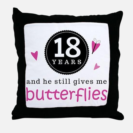 18th Anniversary Butterflies Throw Pillow