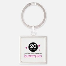 20th Anniversary Butterflies Square Keychain