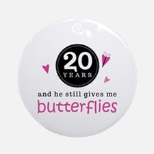 20th Anniversary Butterflies Ornament (Round)