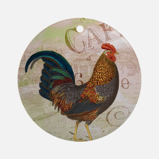 Cafe Rooster Ornament (Round)
