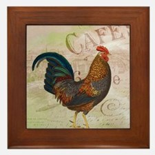 Cafe Rooster Framed Tile