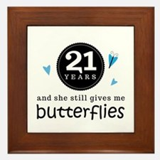21 Year Anniversary Butterfly Framed Tile