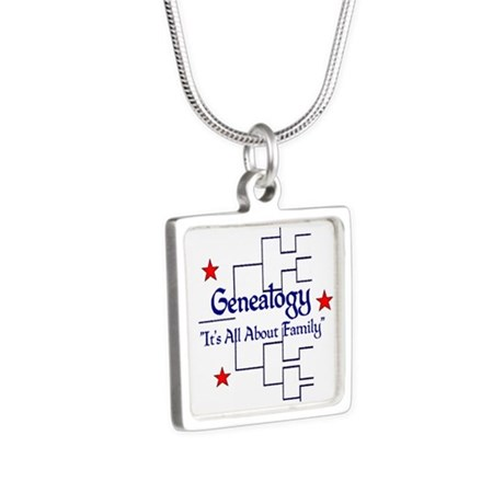 Family Tree Chart Silver Square Necklace