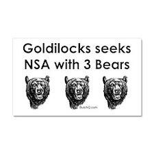 Goldilocks Seeks NSA with 3 Bears Car Magnet 20 x