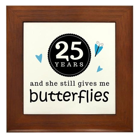 25 Year Anniversary Butterfly Framed Tile