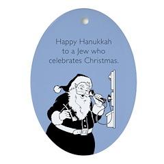 Jew Who Celebrates Christmas Ornament (Oval)