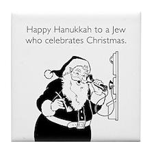 Jew Who Celebrates Christmas White Tile Coaster