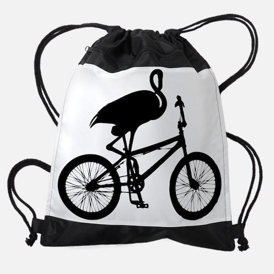Flamingo on Bicycle Drawstring Bag