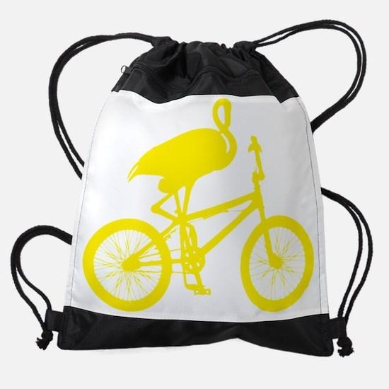 Yellow Flamingo on Bicycle Drawstring Bag