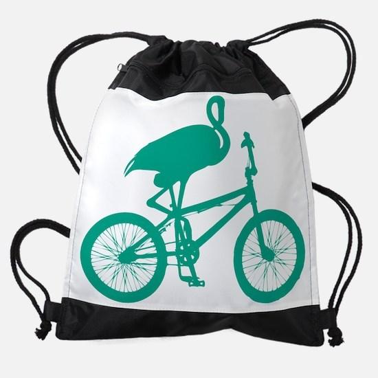 Turquoise Flamingo on Bicycle Drawstring Bag