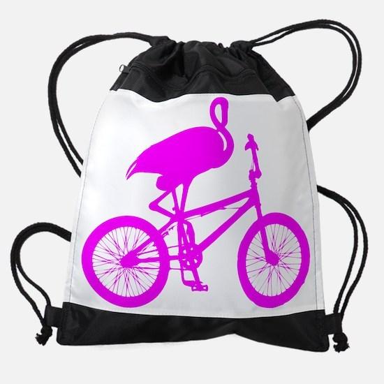 Pink Flamingo on Bicycle Drawstring Bag