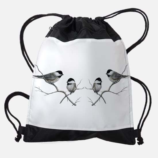 chickadee song bird Drawstring Bag