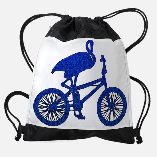 Blue Flamingo on Bicycle Mosaic Drawstring Bag