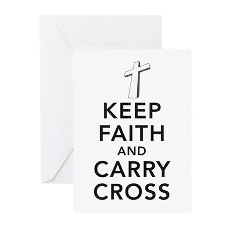 Keep Faith and Carry Cross Greeting Cards (Pk of 2