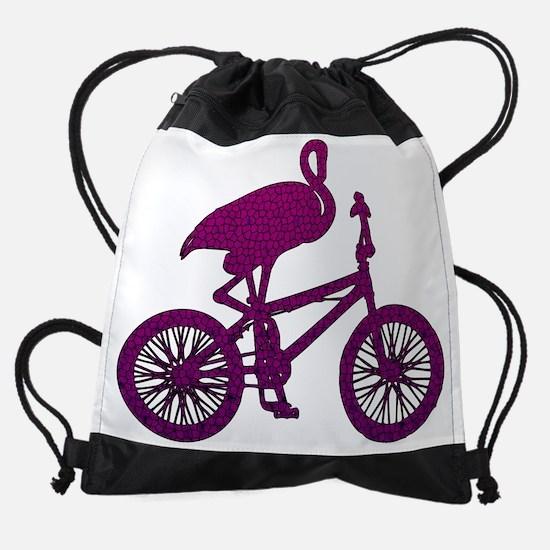 Purple Flamingo on Bicycle Mosaic Drawstring Bag