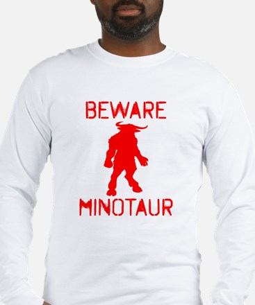Beware Minotaur (red) Long Sleeve T-Shirt