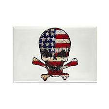 Flag-painted-Skull Rectangle Magnet