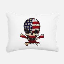 Flag-painted-Skull Rectangular Canvas Pillow