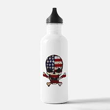 Flag-painted-Skull Water Bottle