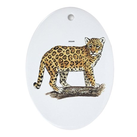 Jaguar Big Cat Ornament (Oval)