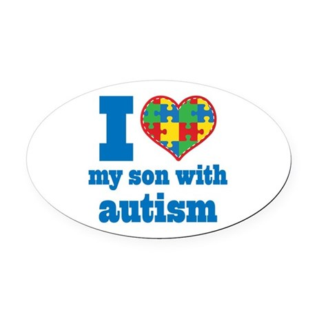Autism - I Love My Son Oval Car Magnet