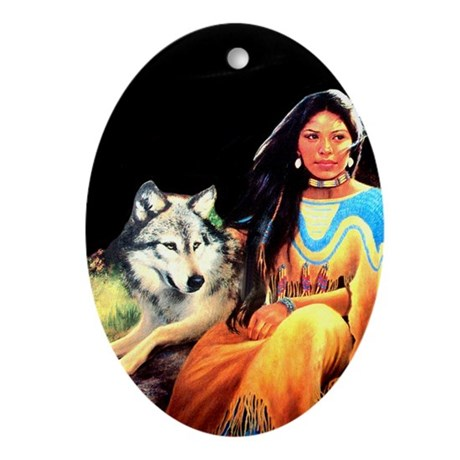 Wolfgirl Oval Ornament