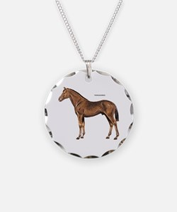 Thoroughbred Horse Necklace Circle Charm