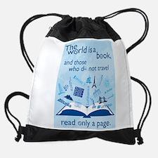 World Is Book Drawstring Bag
