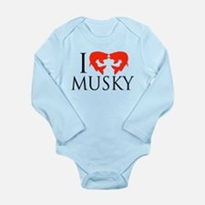 I fish Musky Long Sleeve Infant Bodysuit