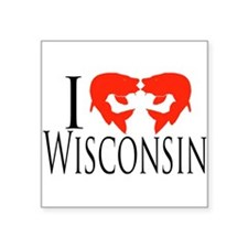 "I fish Wisconsin Square Sticker 3"" x 3"""