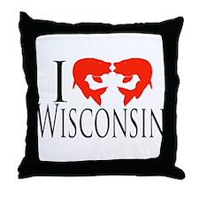 I fish Wisconsin Throw Pillow