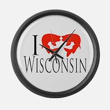 I fish Wisconsin Large Wall Clock