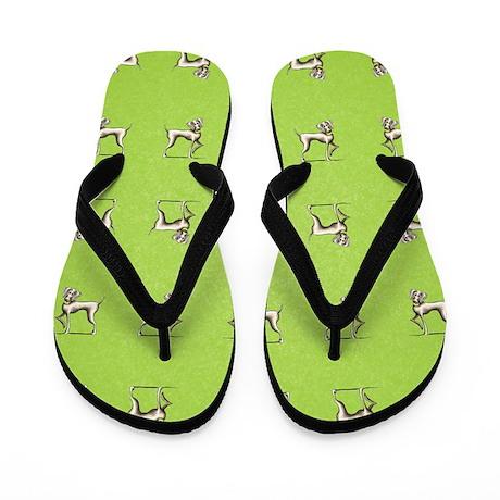 Weimaraner Tennis Green Flip Flops