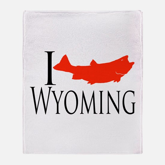 I fish Wyoming Throw Blanket
