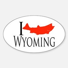 I fish Wyoming Sticker (Oval)
