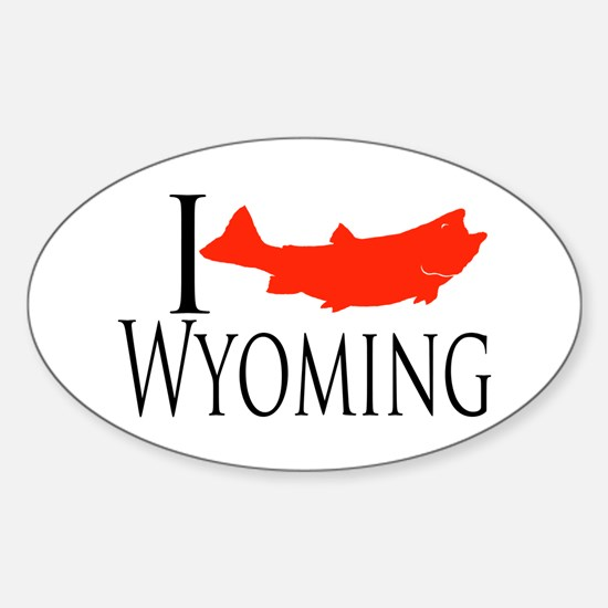 I fish Wyoming Sticker (Oval)