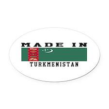 Turkmenistan Made In Oval Car Magnet