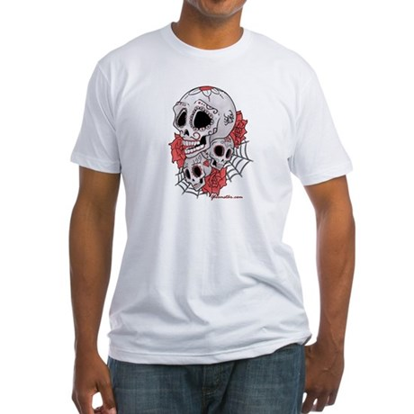 Sugar Skulls and Roses Fitted T-Shirt